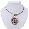 Large Dimensional Swarovski Crystal 'Rose' Pendant Collar Necklace In Burn Silver Finish -  38cm Length