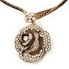Large Dimensional Swarovski Crystal &#039;Rose&#039; Pendant Collar Necklace In Burn Gold Finish - 38cm Length