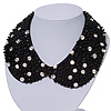 Black Acrylic Bead Clear Diamante Felt Peter Pan Necklace - 36cm Length