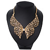 &#039;Butterfly Wings&#039; Peter Pan Collar Necklace In Gold Plating - 38cm Length/ 6cm Extension