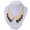 Black Enamel Rose Peter Pan Simulated Pearl Collar Necklace In Gold Plating - 38cm Length/ 6cm Extension