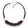 Chameleon Purple Cluster Glass Bead Black Suede Necklace In Silver Plating - 40cm Length/ 7cm Extender