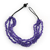 Multistrand Purple Glass Bead Necklace - 44cm Length