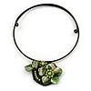 Dark Green/Olive Green Shell Flower Flex Wire Choker Necklace - Adjustable