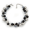 Black/Metallic/Grey Bead Cluster Choker Necklace - 38cm Length/ 5cm Extension