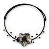 Black/Grey Shell Flower Flex Wire Choker Necklace - Adjustable