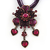 Violet/Purple Diamante Vintage Flower Pendant On Cotton Cords Necklace In Bronze Metal - 38cm Length/ 7cm Extension