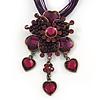 Violet/Purple Diamante Vintage Flower Pendant On Cotton Cords Necklace In Bronze Metal - 38cm Length/ 7cm Extension