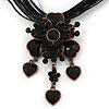 Black/ Grey Diamante Vintage Flower Pendant On Cotton Cords Necklace In Bronze Metal - 38cm Length/ 7cm Extension