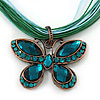 Teal Green Diamante &#039;Butterfly&#039; Cotton Cord Pendant Necklace In Bronze Metal - 38cm Length/ 8cm Extension