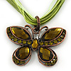 Olive/Mint Green Diamante &#039;Butterfly&#039; Cotton Cord Pendant Necklace In Bronze Metal - 38cm Length/ 8cm Extension