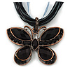 Black/Dark Grey Diamante &#039;Butterfly&#039; Cotton Cord Pendant Necklace In Bronze Metal - 38cm Length/ 8cm Extension