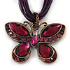 Violet/Deep Purple Diamante &#039;Butterfly&#039; Cotton Cord Pendant Necklace In Bronze Metal - 38cm Length/ 8cm Extension