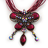 Magenta/Pink Diamante 'Butterfly With Tail' Cotton Cord Pendant Necklace In Bronze Metal - 38cm Length/ 8cm Extension
