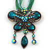 Teal Green Diamante 'Butterfly With Tail' Cotton Cord Pendant Necklace In Bronze Metal - 38cm Length/ 8cm Extension [N01599]