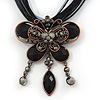 Black/Grey Diamante &#039;Butterfly With Tail&#039; Cotton Cord Pendant Necklace In Bronze Metal - 38cm Length/ 8cm Extension