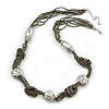 Beige Grey Glass Bead With Hammered Metal Station Long Necklace In Silver Tone Finish - 70cm Length/ 7cm Extension