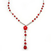 Y-Shape Red Resin Rose Bead Necklace In Rhodium Plating - 46cm Length/ 6cm Extension