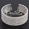 10-Row Swarovski Crystal Choker Necklace (Silver&Clear) - 29cm Length/ 16cm Extension