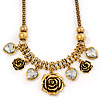 Vintage 'Rose&Heart' Mesh Charm Necklace In Burn Gold Metal - 40cm Length/ 6cm Extension