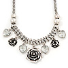Vintage &#039;Rose&amp;Heart&#039; Mesh Charm Necklace In Burn Silver Metal - 40cm Length/ 6cm Extension