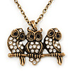 &#039;Three Wise Owls&#039; Long Diamante Pendant Necklace In Burn Gold Metal - 62cm Length/ 5cm Extension