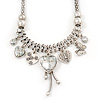 Vintage Burn Silver Charm 'Heart&Butterfly' Mesh Necklace - 40cm Length/ 6cm Extension