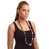 Long Purple Wooden Nugget and Silver Acrylic Bead Necklace on Black Suede Cord - 100cm Length