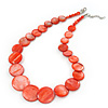 Brick Red Shell Necklace In Silver Plating - 40cm Length/ 3cm Extension