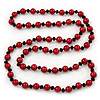 Long Red & Black Simulated Glass Pearl Necklace - 114cm Length
