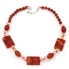 Dark Orange Ceramic & Ligth Pink Crystal Bead Necklace In Rhodium Plating - 42cm Length/ 5cm Extension
