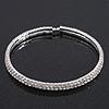 2-Row Clear Swarovski Crystal Flex Choker Necklace In Rhodium Plating - Adjustable