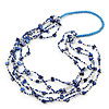 Long Multistrand Navy Blue/ White Shell/ Glass Bead Necklace - 80cm Length