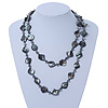 Long Black/ Grey Shell & Metal Bead Necklace - 110cm Length