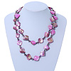 Long Magenta Shell &amp; Metal Bead Necklace - 110cm Length