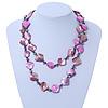 Long Magenta Shell & Metal Bead Necklace - 110cm Length