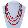 3 Strand Red/ Black Glass, Shell Bead Necklace - 60cm Length