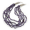 Amethyst/ Black Multistrand, Layered Glass Bead Necklace In Silver Plating - 60cm Length