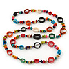 Long Multicoloured Bone & Wood Beaded Necklace - 120cm Length