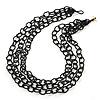 3 Strand Black Glass Bead Oval Link Necklace - 70cm Length