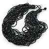 Chunky Multistrand Glass & Ceramic Bead Necklace (Black/ Metallic Silver) - 42cm Length