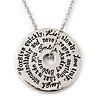 Silver Tone Audrey Hepburn Quote Round Medallion Pendant and Chain - 41cm Length/ 7cm Extension