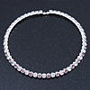 Silver Plated Clear/ Lavender Swarovski Flex Choker Necklace