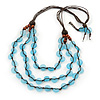 3 Strand Light Blue Resin & Brown Wood Bead Cotton Cord Necklace - 82cm Length