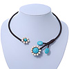 Turquoise, Ceramic Beaded Flower On Flex Wire Choker Necklace - Adjustable
