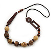 Chunky Wood Bead Geometric Leather Style Cord Necklace - 90cm Length