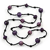 Long Wood, Resin, Glass, Ceramic Bead Necklace (Purple/ Black) - 134cm Length