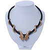 Austrian Crystal 'Double Snake' Black Leather Cord Necklace In Gold Tone Metal - 46cm Length/ 8cm Extension