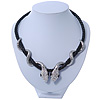 Swarovski Crystal &#039;Double Snake&#039; Black Leather Cord Necklace In Rhodium Plating - 46cm Length/ 8cm Extension