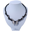 Swarovski Crystal &#039;Double Snake&#039; Black Leather Cord Necklace In Gun Tone Metal - 46cm Length/ 8cm Extension